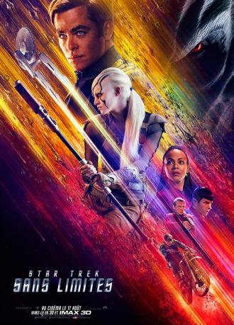 Affiche du film Star Trek - Sans Limites sur laquelle nous découvrons les personnages principaux sur un montage photo qui laisse présager un film spectaculaire.