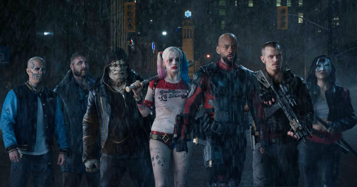 Photo de Diablo, Captain Boomerang, Killer Croc, Harley Quinn, Deadshot, Rick Flag et Katana.