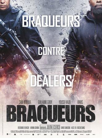 Affiche de Braqueurs de Julien Leclercq sur laquelle Sami Bouajila et Kaaris sont côte à côte, armés devant un fond explosif. On ne distingue quasiment pas leur visage.