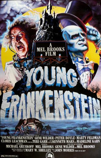 Affiche de Frankenstein Junior sur laquelle nous découvrons les personnages principaux en haut du château de l'héritier de Victor Frankenstein.