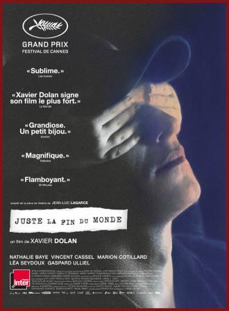 Affiche de Juste la Monde de Xavier Dolan sur laquelle un enfant cache les yeux de Gaspard Ulliel.