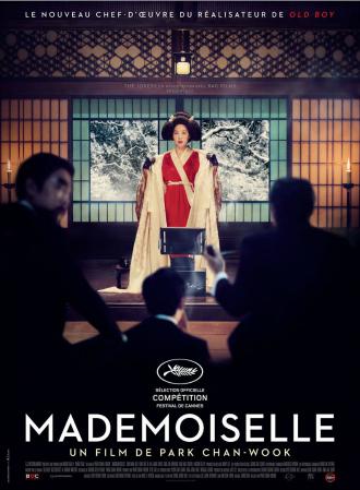 Affiche de Mademoiselle de Park Chan-wook sur laquelle Kim Min-Hee est face à plusieurs hommes avant une lecture.