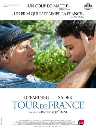 Affiche du film Tour de France de Rachid Djaïdani sur laquelle Gérard Depardieu tient la tête de Sadek durant un de leurs échanges.