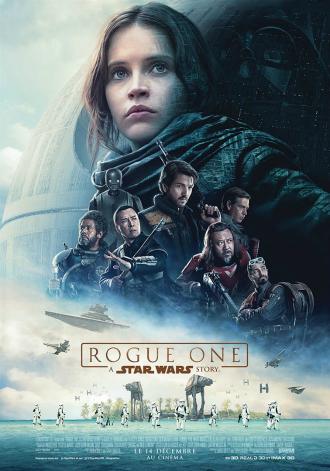 Affiche de Rogue One : A Star Wars Story sur laquelle nous découvrons sur un montage tous les personnages principaux devant l'Etoile Noire. L'ombre de Dark Vador est visible.