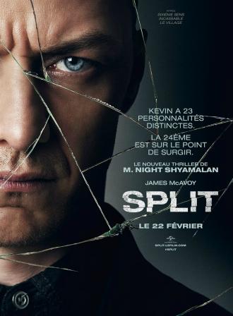 Affiche de Split où James McAvoy apparaît avec un air extrêmement sombre devant un fond noir et derrière du verre brisé.