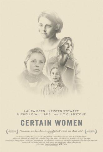 Affiche de Certaines Femmes de Kelly Reichardt sur laquelle le portrait des quatre actrices principales est dessiné.
