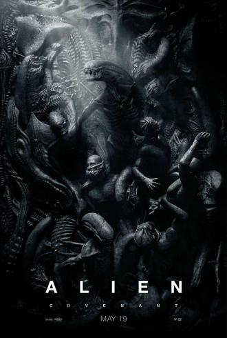 Affiche d'Alien : Covenant sur laquelle les Aliens déciment les Ingénieurs sur ne fresque qui évoque un tableau.