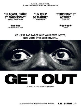 Affiche de Get Out en noir et blanc sur laquelle on distingue uniquement les yeux horrifiés de Daniel Kaluuya.