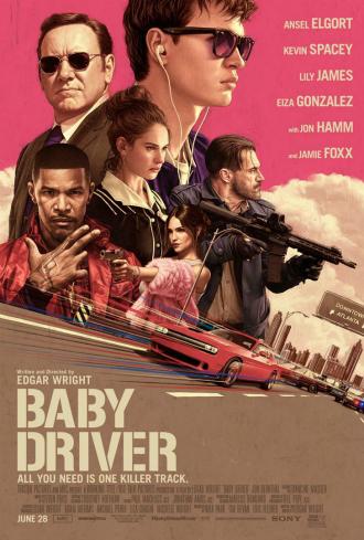 Affiche de Baby Driver d'Edgar Wright sur laquelle nous découvrons tous les personnages principaux dessinés. Une voiture filant à toute vitesse est également visible et en dit long sur les talents du héros.