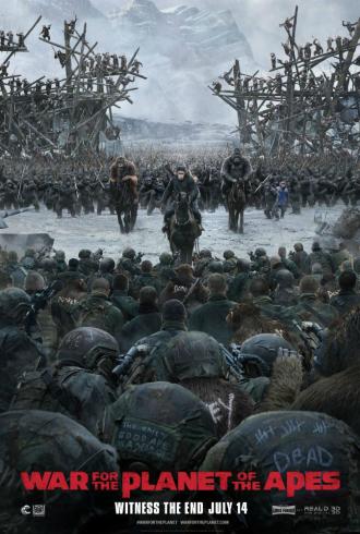 Affiche de La Planète des Singes - Suprématie de Matt Reeves sur laquelle les singes menés par César s'approchent des hommes, vus de dos, pour les affronter.
