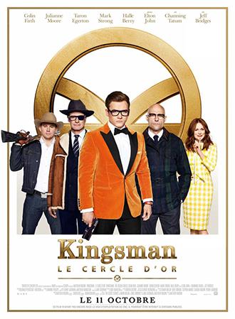 Affiche de Kingsman - Le cercle d'or de Matthew Vaughn sur laquelle certains des personnages principaux sont alignés, avec Taron Egerton au centre.