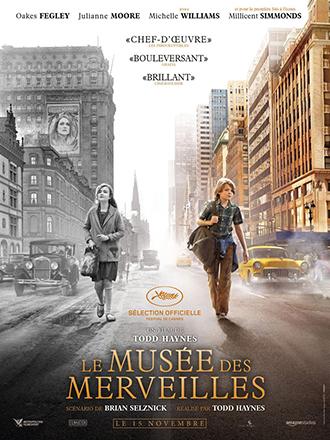 Affiche du Musée du merveilles de Todd Haynes sur laquelle deux enfants marchent dans les rues de New York à deux époques distinctes.