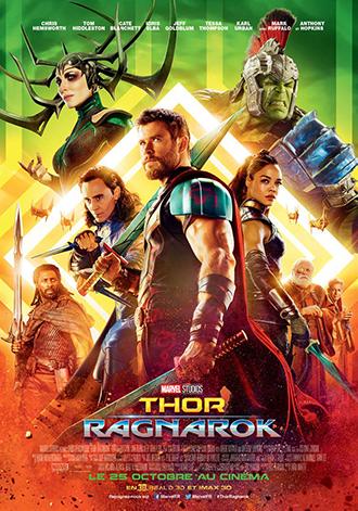 Affiche de Thor : Ragnarok de Taïka Waititi sur laquelle tous les personnages sont alignés devant un fond très coloré et rétro. L'affiche rend hommage à l'univers de Jack Kirby.