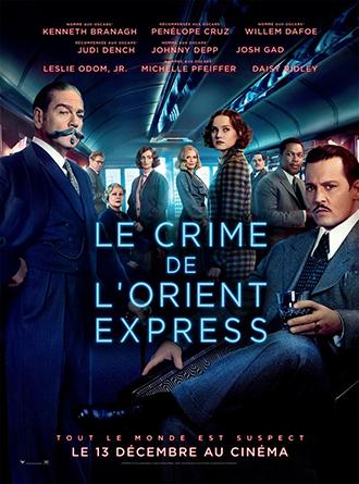 Affiche du Crime de l'Orient Express de Kenneth Branagh, sur laquelle la plupart des protagonistes font face à l'objectif avec un air mystérieux.