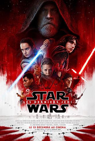 Affiche de Star Wars : Les derniers Jedi de Rian Johnson sur laquelle on découvre tous les personnages principaux sur un montage qui utilise des tons rouges.