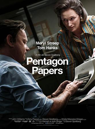 Affiche de Pentagon Papers de Steven Spielberg sur laquelle Meryl Streep observe Tom Hanks qui s'apprête à taper à la machine à écrire.