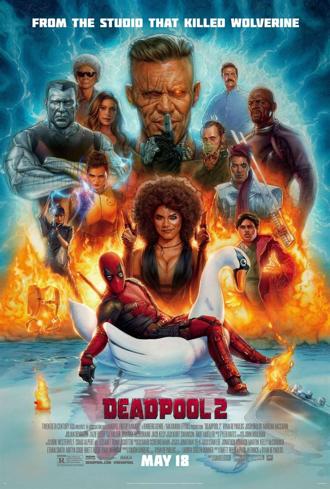 Affiche dessinée de Deadpool 2 de David Leitch, sur laquelle on découvre tous les personnages, à commencer par le super-héros qui se trouve sur un canard gonflable.