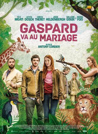 Affiche de Gaspard va au mariage d'Antony Cordier sur laquelle les personnages, pris en photo, sont alignés dans une peinture qui mêle animaux et éléments de nature.