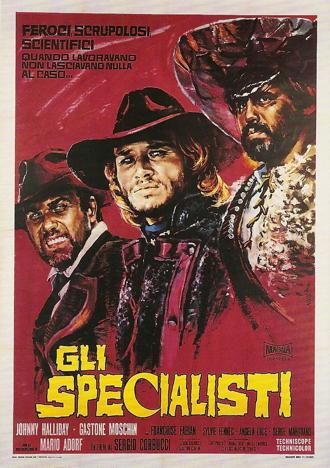 Affiche peinte de Le Spécialiste de Sergio Corbucci, sur laquelle on découvre les visages des trois personnages principaux, avec au centre celui du héros interprété par Johnny Hallyday.
