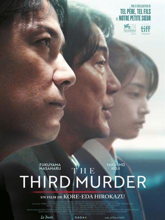 Affiche de The Third Murder de Hirokazu Kore-eda, sur laquelle les visages des trois personnages principaux sont alignés.