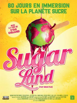 Affiche de Sugarland de Damon Gameau, sur laquelle la Terre n'est autre qu'une pomme d'amour.