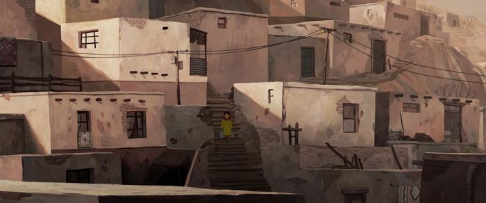 Photo tirée du film d'animation Parvana, une enfance en Afghanistan, sur laquelle l'héroïne descend les escaliers d'une rue de Kaboul.