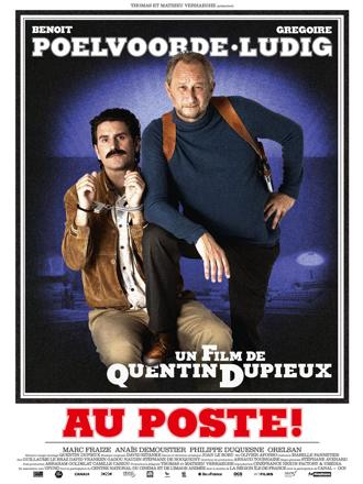 Affiche d'Au Poste de Quentin Dupieux sur laquelle les deux personnages principaux prennent la pose à la manière de Belmondo dans les années 80