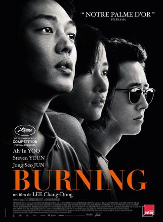 Affiche du film Burning de Lee Chang-Dong, sur laquelle on découvre les portraits des trois personnages principaux en noir et blanc, devant un fond noir.