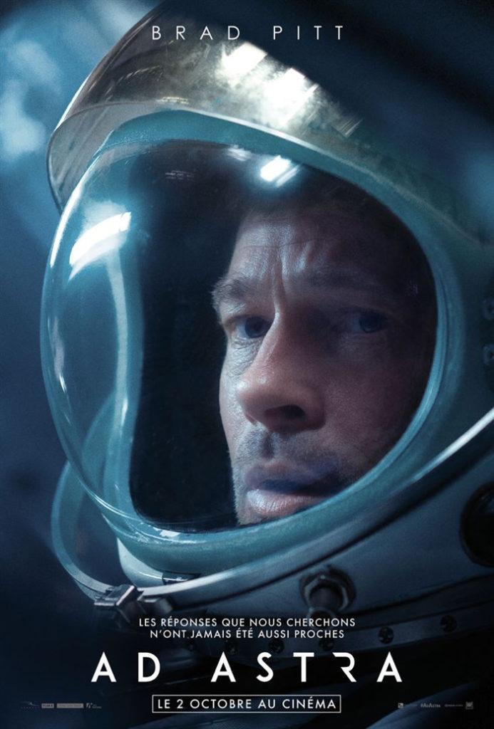 Affiche d'Ad Astra, qui dévoile le regard inquiet de Brad Pitt dans une tenue d'astronaute.