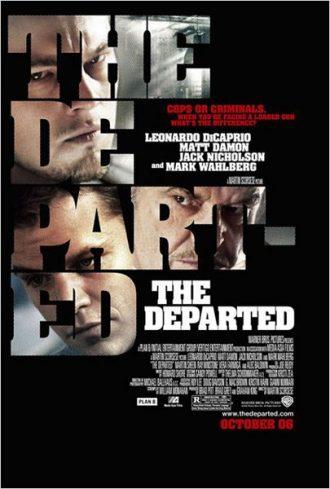 Affiche du film Les Infiltrés sur laquelle nous découvrons les visages des trois personnages principaux à travers les lettres du titre.