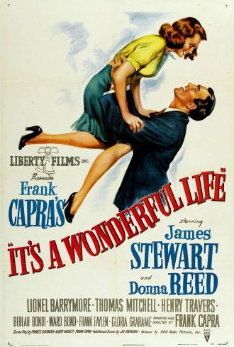 Affiche de La Vie est Belle de Frank Capra sur laquelle James Stewart porte Donna Reed.