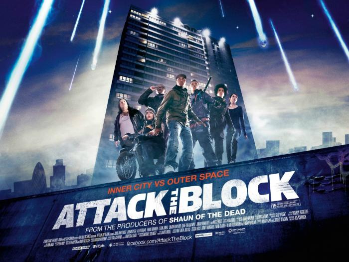 Affiche du film Attack The Block par Joe Cornish. Nous y voyons les héros du film devant leur bâtiment, prêts à le défendre d'une menace qu'on ne voit pas. Des météorites semblent tomber du ciel.