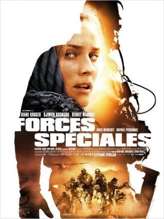 Affiche de Forces Spéciales sur laquelle nous découvrons le visage de Diane Kruger bouleversée, la silhouette de Djimon Hounsou et ses militaires en action.