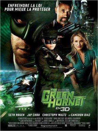 Affiche du film The Green Hornet sur laquelle nous découvrons les personnages principaux sur un montage.