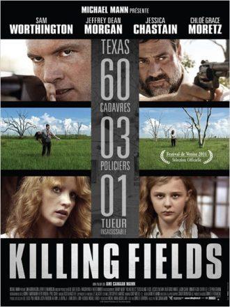 Affiche du film Killing Fields sur laquelle nous découvrons un montage photo qui présente le cadre du film ainsi que les quatre personnages principaux.