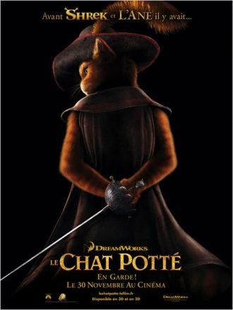 Affiche du film Le Chat Potté sur laquelle le chat pose de dos, une épée à la main.