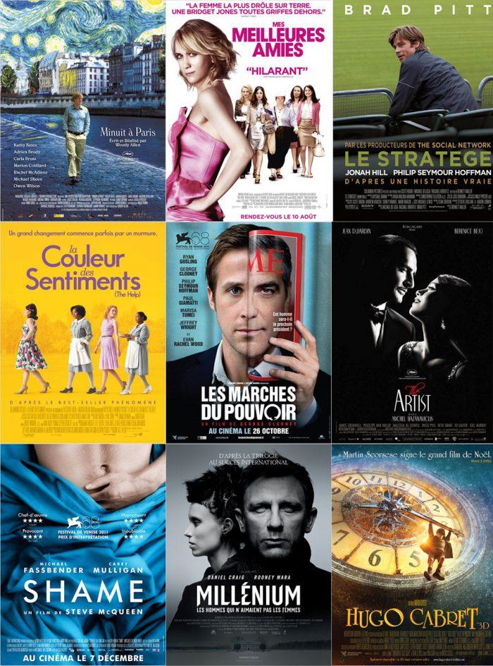 Affiche des films nommés aux Golden Globes 2012.