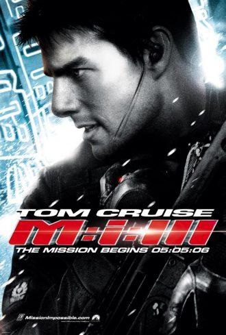 Affiche de Mission Impossible 3 sur laquelle Tom Cruise est pris de profil en action.