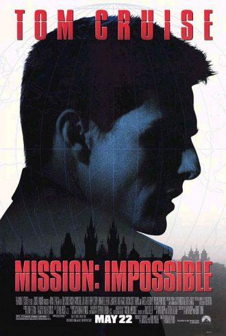 Affiche de Mission Impossible de Brian de Palma sur laquelle on distingue le profil de Tom Cruise dans l'univers de l'espionnage.