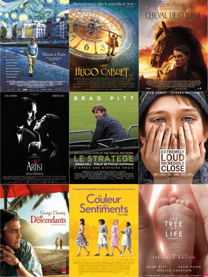 Montage des principaux candidats aux Oscars 2012.