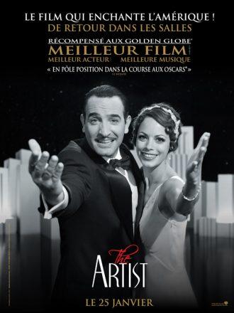 Affiche de The Artist sur laquelle Jean Dujardin et Bérénice Bejo tendent ensemble le bras vers l'objectif.