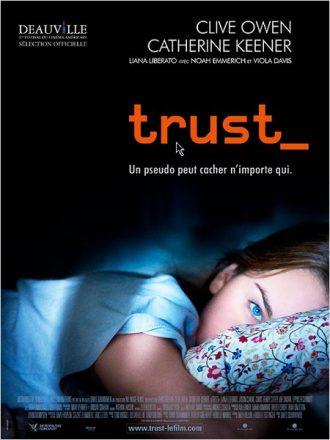 Affiche du film Trust sur laquelle une adolescente est allongée sur son lit.