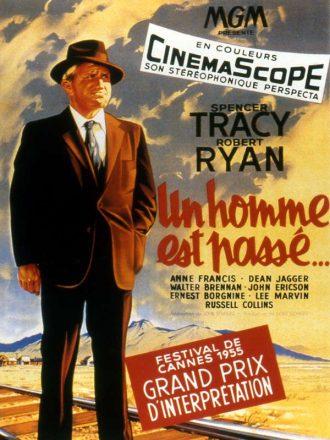 Affiche dessinée d'Un homme est passé de John Sturges sur laquelle l'acteur est debout devant un chemin de fer, observant au loin.