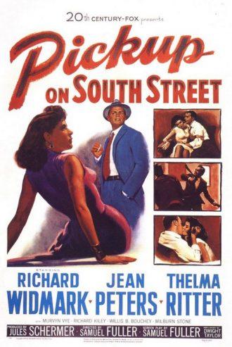 Affiche dessinée du Port de la drogue de Samuel Fuller sur laquelle nous découvrons les personnages principaux, à commencer par Richard Widmark et Jean Peters.