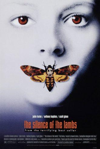 Affiche du Silence des agneaux de Jonathan Demme sur laquelle nous découvrons le visage de Jodie Foster. Sa bouche est recouverte d'un papillon.