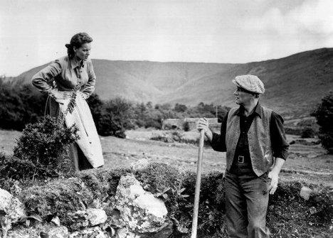 Photo de John Wayne et Maureen O'Hara dans le paysage irlandais dans le film L'homme tranquille de John Ford.