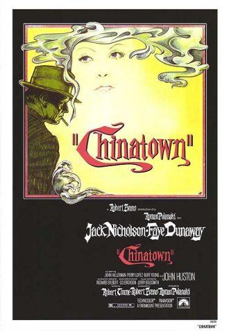 Affiche du film Chinatown sur laquelle Jack Nicholson est dessiné en train de fumer une cigarette. Le visage de Faye Dunaway apparaît dans la fumée.