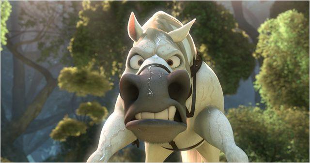 Photon de Maximus, le cheval de Raiponce qui affiche un air très énervé.