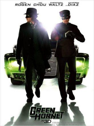 Affiche du film The Green Hornet de Michel Gondry sur laquelle Seth Rogen et Jay Chou avancent masqués vers l'objectif. Au second plan se trouve leur fameuse voiture.