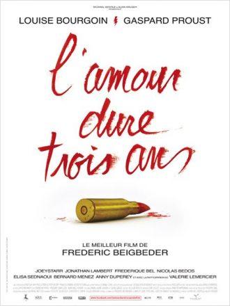 Affiche du film L'amour dure trois ans de Frédéric Beigbeder. Le titre est écrit avec un rouge à lèvres en forme de cartouche.